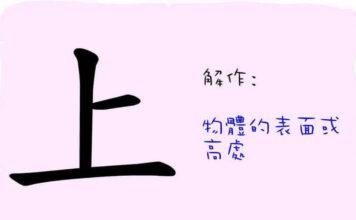 L'origine du caractère chinois 上 - shàng - en haut